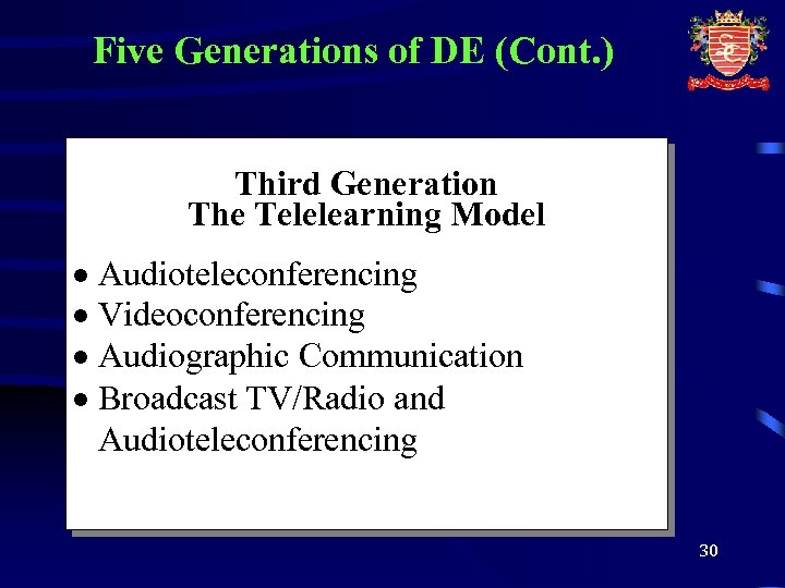 Five Generations of DE (Cont. ) Third Generation The Telelearning Model · Audioteleconferencing ·