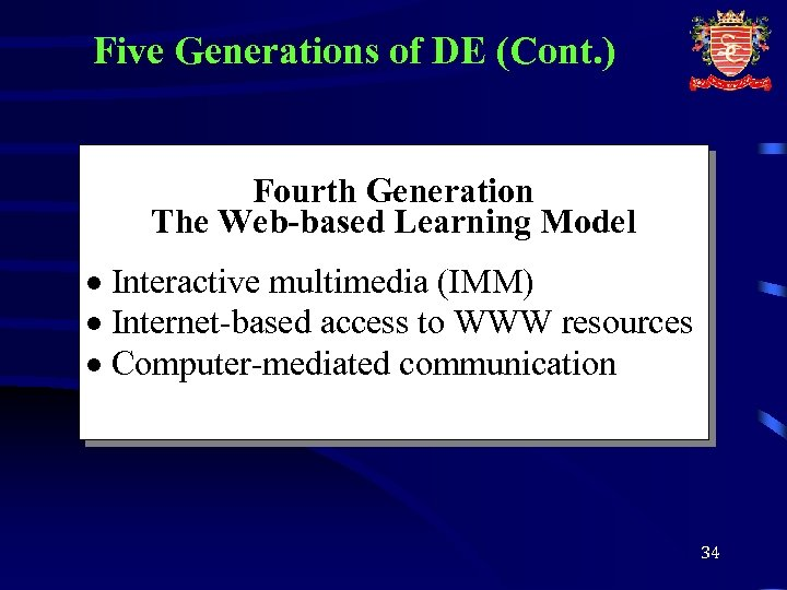 Five Generations of DE (Cont. ) Fourth Generation The Web-based Learning Model · Interactive