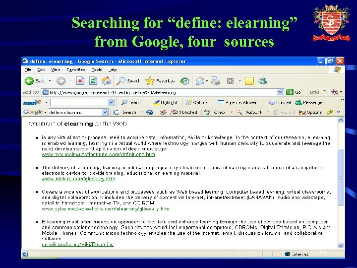 """Searching for """"define: elearning"""" from Google, four sources 39"""