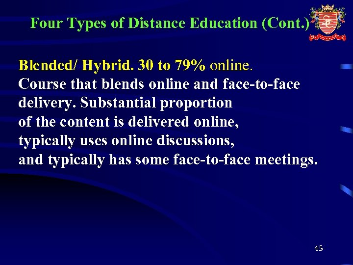 Four Types of Distance Education (Cont. ) Blended/ Hybrid. 30 to 79% online. Course