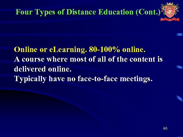 Four Types of Distance Education (Cont. ) Online or e. Learning. 80 -100% online.