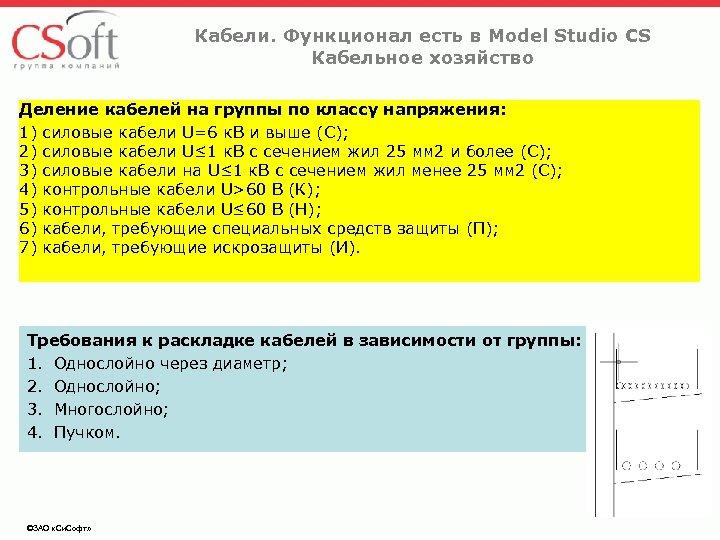 Кабели. Функционал есть в Model Studio CS Кабельное хозяйство Деление кабелей на группы по