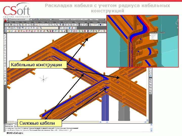 Раскладка кабеля с учетом радиуса кабельных конструкций Кабельные конструкции Силовые кабели ©ЗАО «Си. Софт»