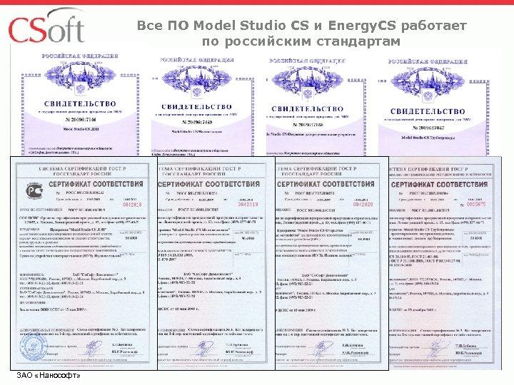 Все ПО Model Studio CS и Energy. CS работает по российским стандартам ЗАО «Нанософт»