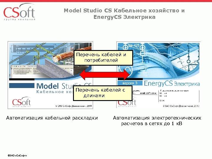 Model Studio CS Кабельное хозяйство и Energy. CS Электрика Перечень кабелей и потребителей Перечень