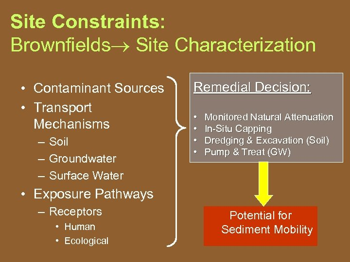 Site Constraints: Brownfields Site Characterization • Contaminant Sources • Transport Mechanisms – Soil –