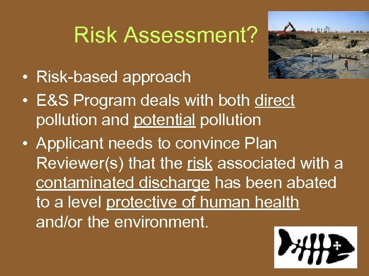 Risk Assessment? • Risk-based approach • E&S Program deals with both direct pollution and