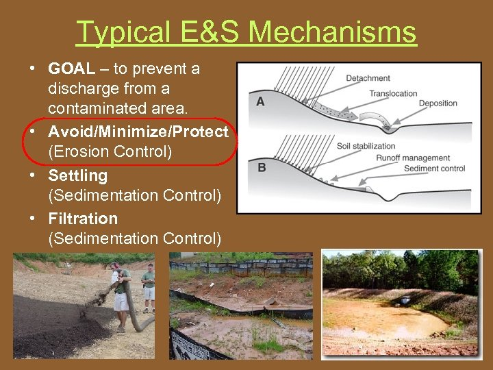 Typical E&S Mechanisms • GOAL – to prevent a discharge from a contaminated area.