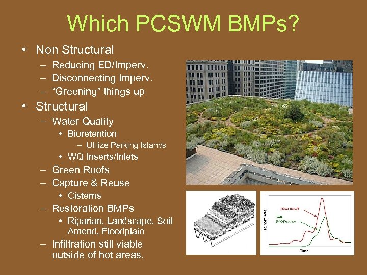 "Which PCSWM BMPs? • Non Structural – Reducing ED/Imperv. – Disconnecting Imperv. – ""Greening"""
