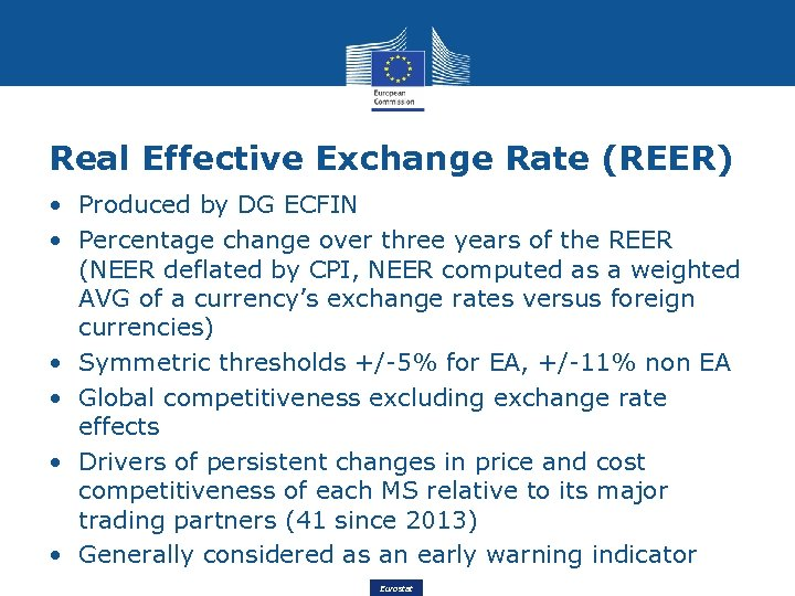 Real Effective Exchange Rate (REER) • Produced by DG ECFIN • Percentage change over