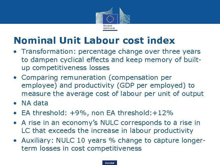 Nominal Unit Labour cost index • Transformation: percentage change over three years to dampen