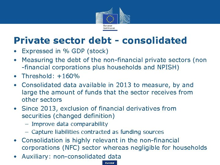 Private sector debt - consolidated • Expressed in % GDP (stock) • Measuring the