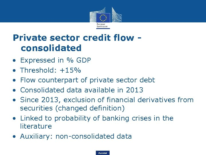 Private sector credit flow consolidated • • • Expressed in % GDP Threshold: +15%