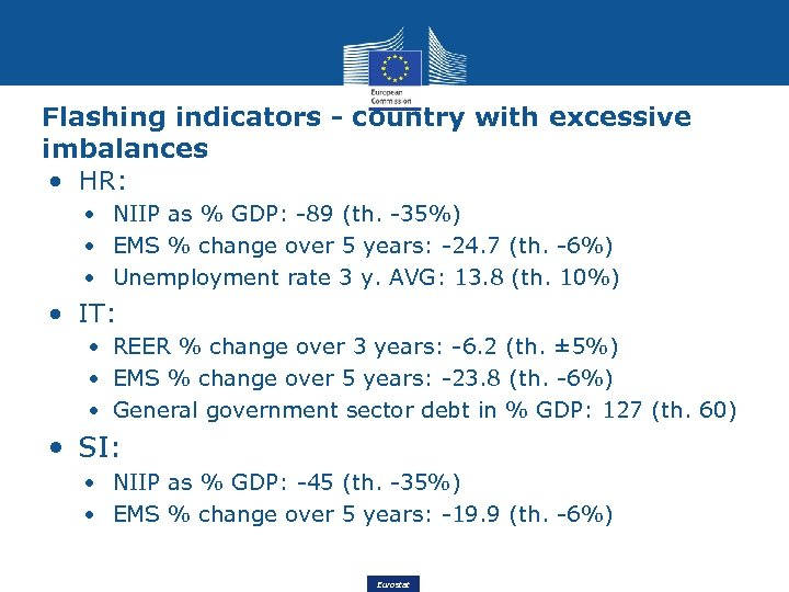 Flashing indicators - country with excessive imbalances • HR: • NIIP as % GDP: