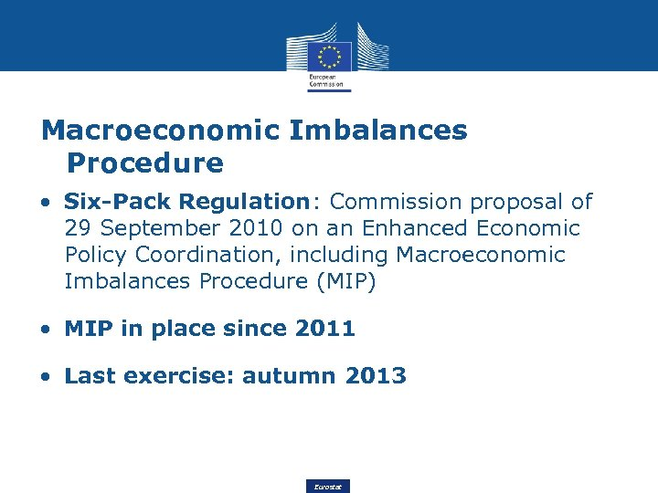 Macroeconomic Imbalances Procedure • Six-Pack Regulation: Commission proposal of 29 September 2010 on an