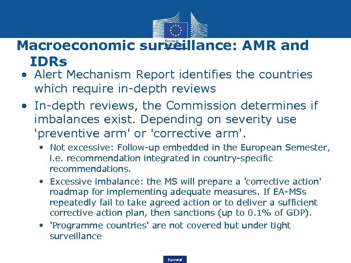 Macroeconomic surveillance: AMR and IDRs • Alert Mechanism Report identifies the countries which require
