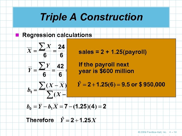 Triple A Construction n Regression calculations sales = 2 + 1. 25(payroll) If the