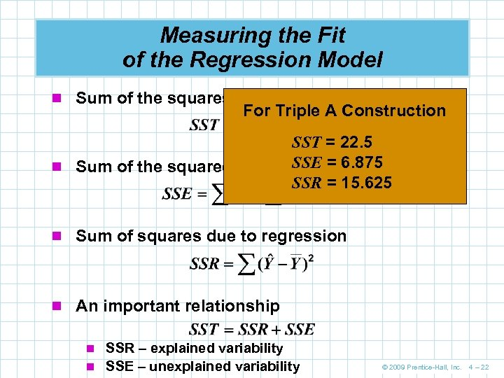 Measuring the Fit of the Regression Model n Sum of the squares total For