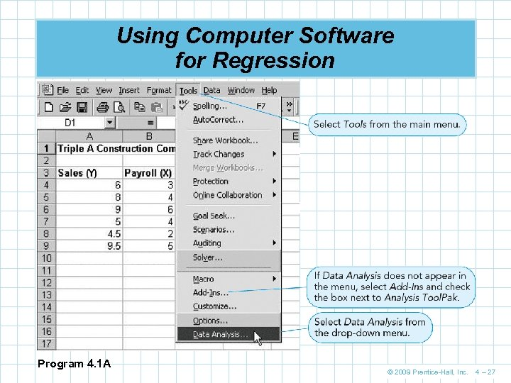 Using Computer Software for Regression Program 4. 1 A © 2009 Prentice-Hall, Inc. 4