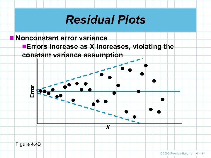 Residual Plots n Nonconstant error variance n. Errors increase as X increases, violating the