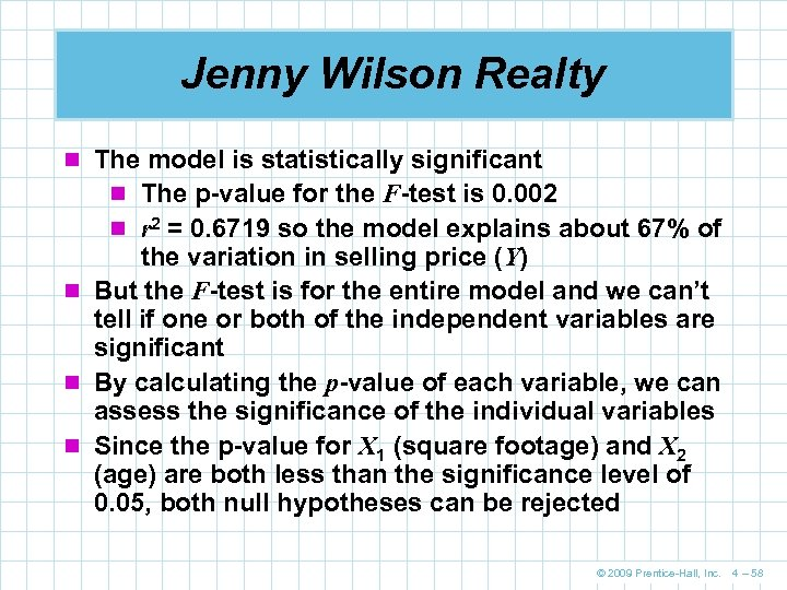 Jenny Wilson Realty n The model is statistically significant n The p-value for the
