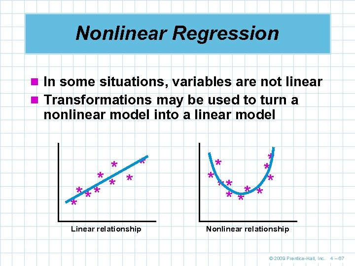 Nonlinear Regression n In some situations, variables are not linear n Transformations may be