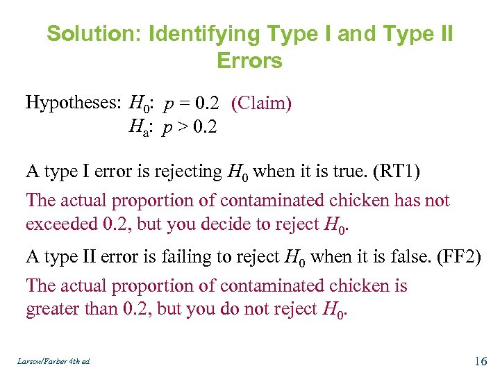 Solution: Identifying Type I and Type II Errors Hypotheses: H 0: p = 0.