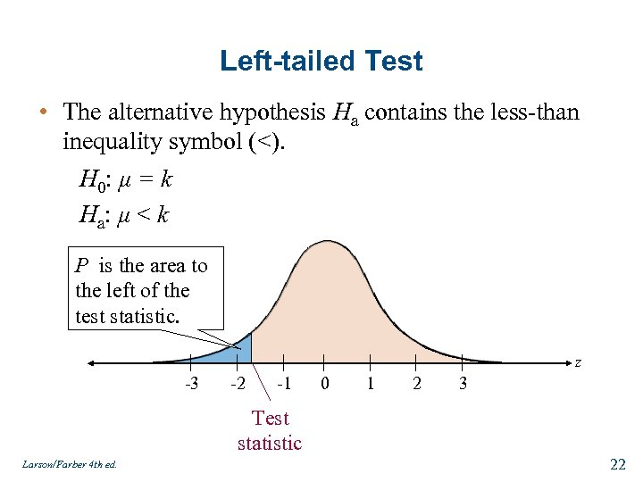 Left-tailed Test • The alternative hypothesis Ha contains the less-than inequality symbol (<). H