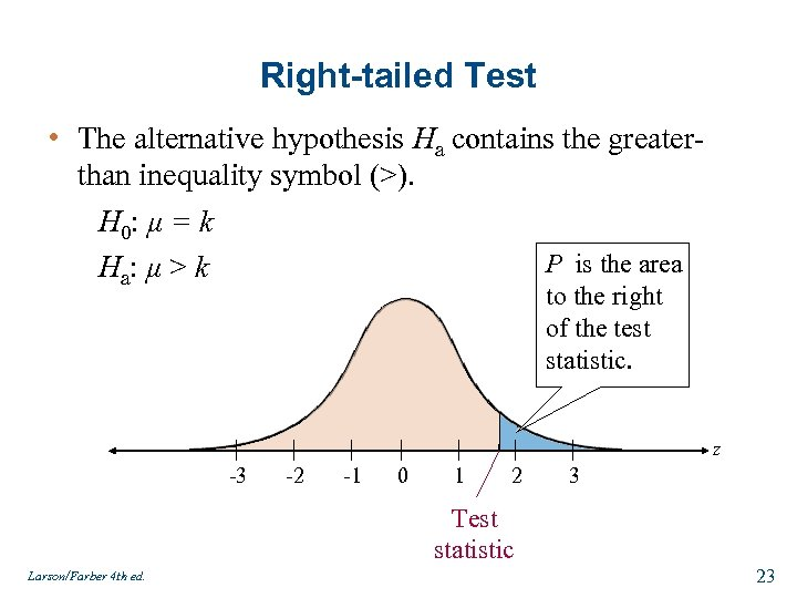 Right-tailed Test • The alternative hypothesis Ha contains the greaterthan inequality symbol (>). H