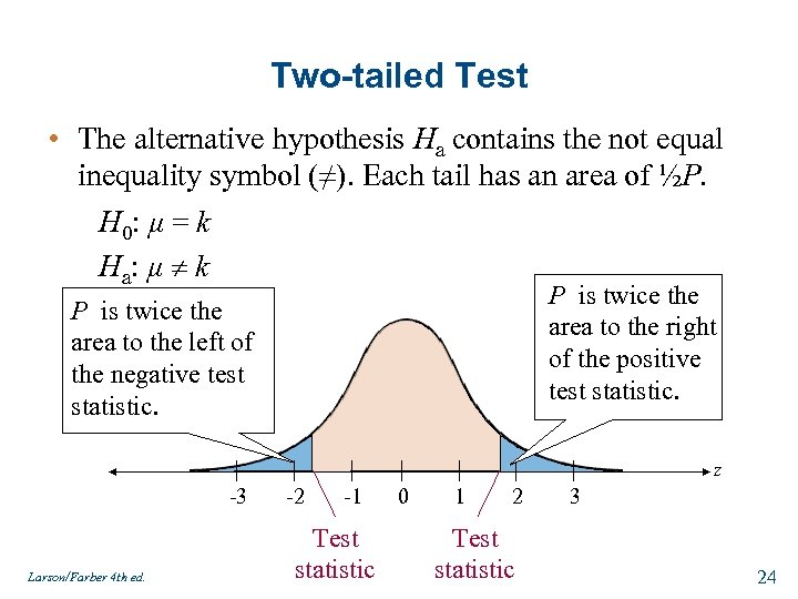Two-tailed Test • The alternative hypothesis Ha contains the not equal inequality symbol (≠).