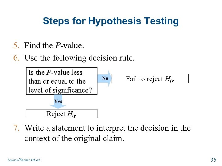 Steps for Hypothesis Testing 5. Find the P-value. 6. Use the following decision rule.