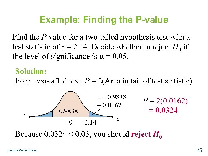 Example: Finding the P-value Find the P-value for a two-tailed hypothesis test with a