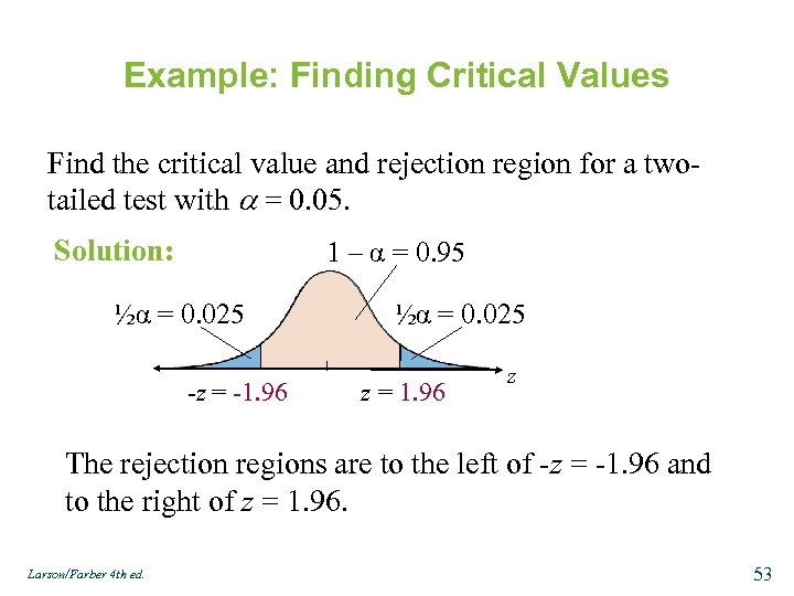 Example: Finding Critical Values Find the critical value and rejection region for a twotailed