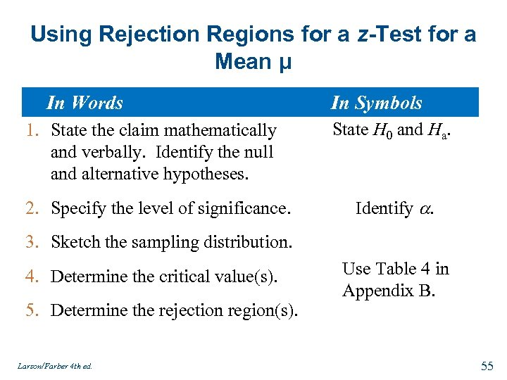 Using Rejection Regions for a z-Test for a Mean μ In Words In Symbols