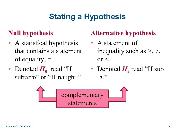 Stating a Hypothesis Null hypothesis • A statistical hypothesis that contains a statement of