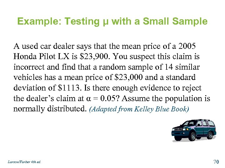 Example: Testing μ with a Small Sample A used car dealer says that the