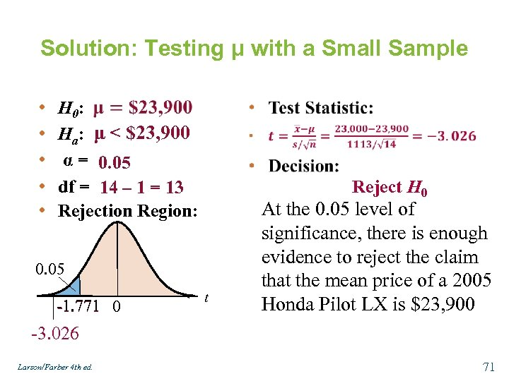 Solution: Testing μ with a Small Sample • • • H 0: Ha: μ