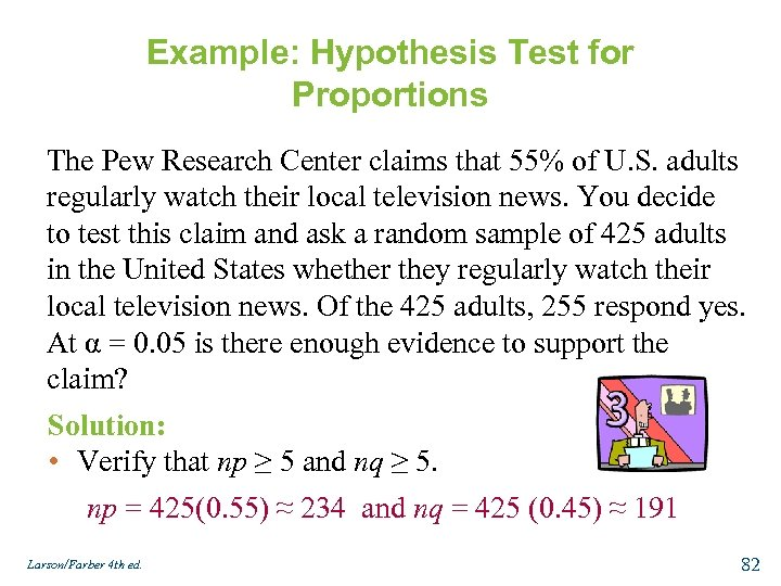 Example: Hypothesis Test for Proportions The Pew Research Center claims that 55% of U.