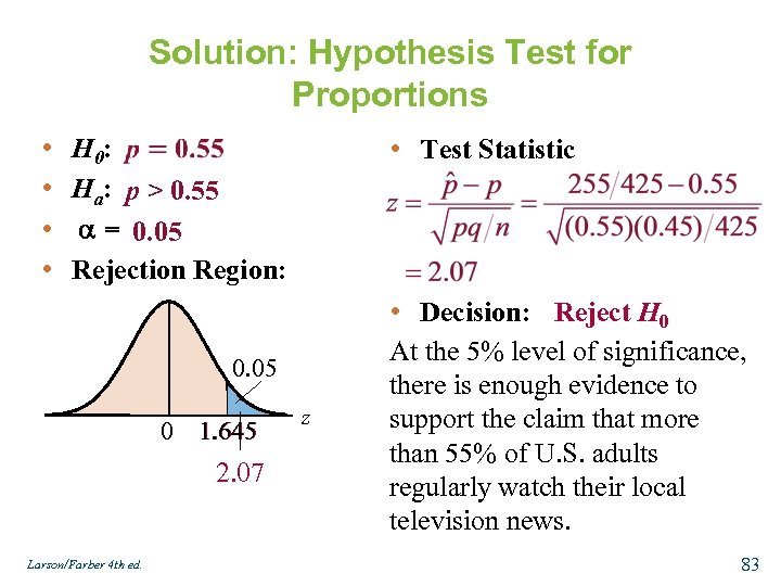 Solution: Hypothesis Test for Proportions • • H 0: Ha: p > 0. 55