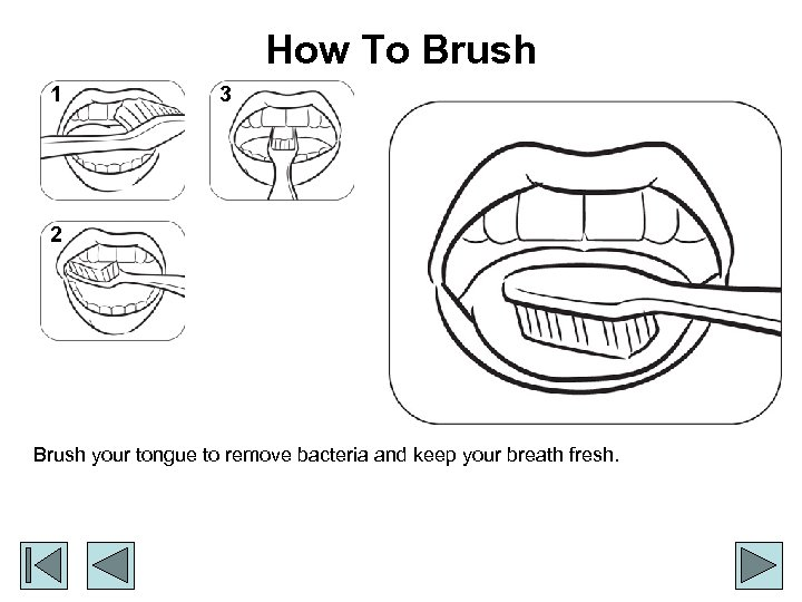 How To Brush 1 3 2 Brush your tongue to remove bacteria and keep