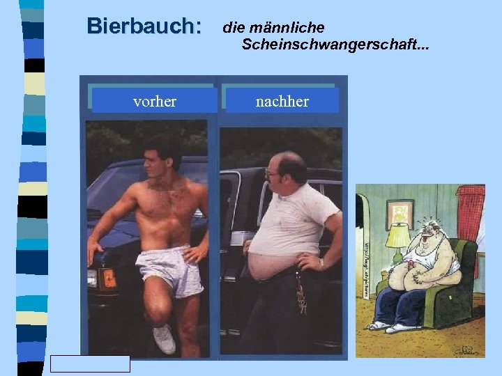 Bierbauch: vorher www. Fun. Friends. de die männliche Scheinschwangerschaft. . . nachher