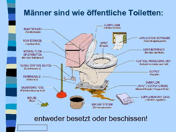 Männer sind wie öffentliche Toiletten: entweder besetzt oder beschissen! www. Fun. Friends. de