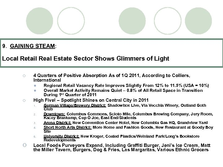 9. GAINING STEAM: Local Retail Real Estate Sector Shows Glimmers of Light ¡ 4