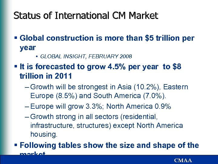 Status of International CM Market § Global construction is more than $5 trillion per