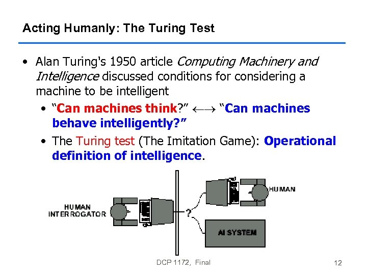 Acting Humanly: The Turing Test • Alan Turing's 1950 article Computing Machinery and Intelligence