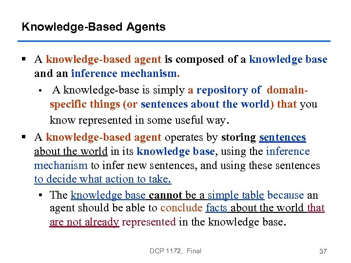 Knowledge-Based Agents § A knowledge-based agent is composed of a knowledge base and an