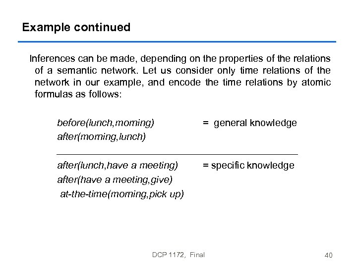 Example continued Inferences can be made, depending on the properties of the relations of
