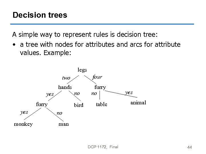 Decision trees A simple way to represent rules is decision tree: • a tree