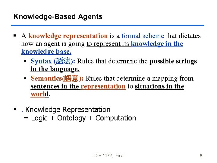 Knowledge-Based Agents § A knowledge representation is a formal scheme that dictates how an
