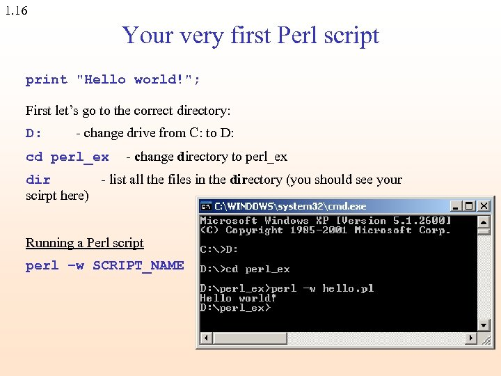 1. 16 Your very first Perl script print